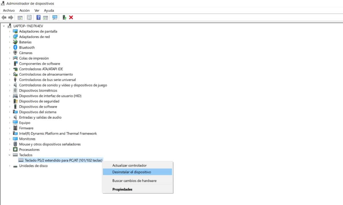 Desinstalar drivers Teclado Windows