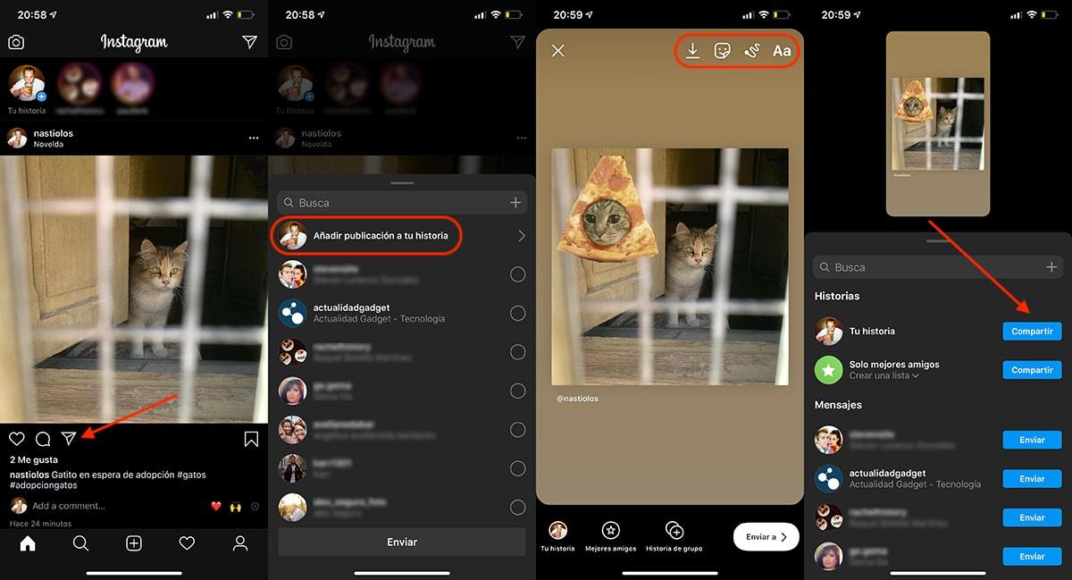 Convertir publicación de Instagram en historia