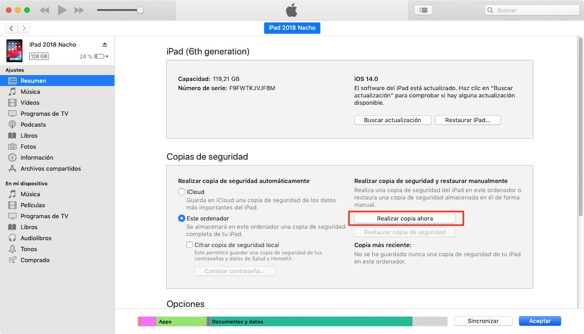 Hacer copia de seguridad iPhone en Mac