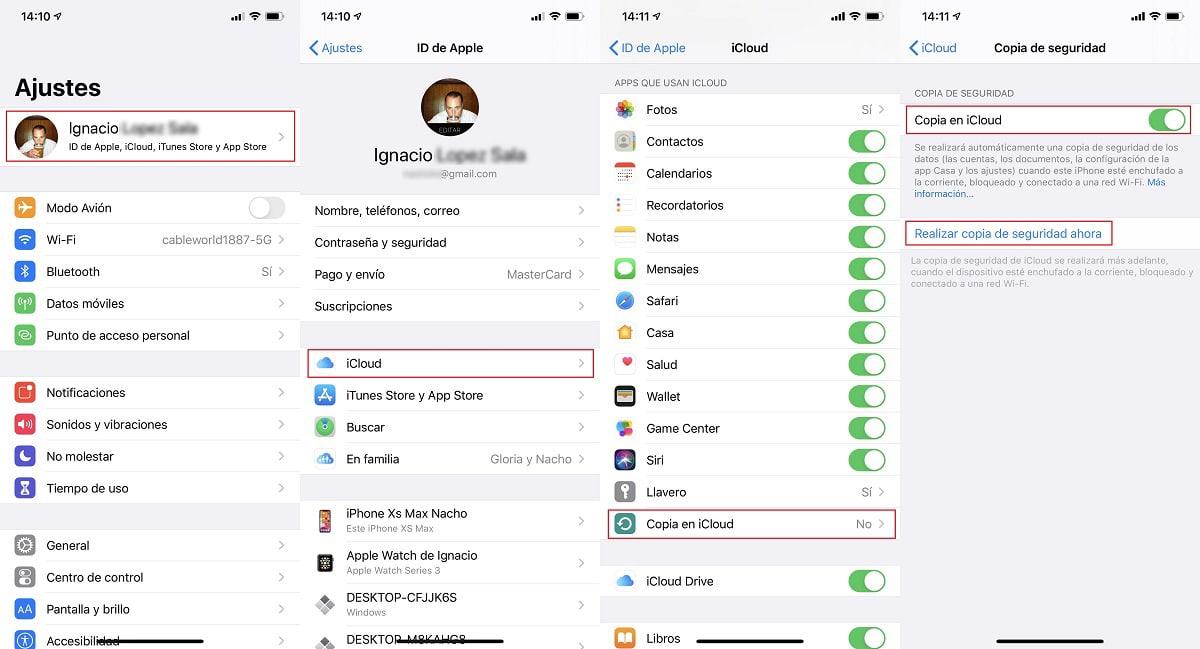 Hacer copias de seguridad en iCloud