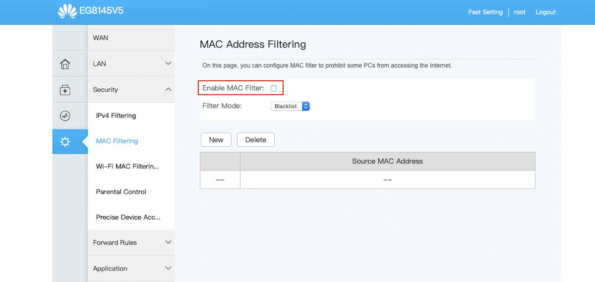 acceso vía mac a un router