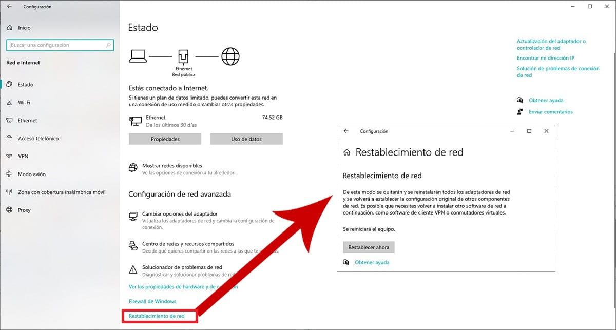 restablecer valores de red en Windows 10