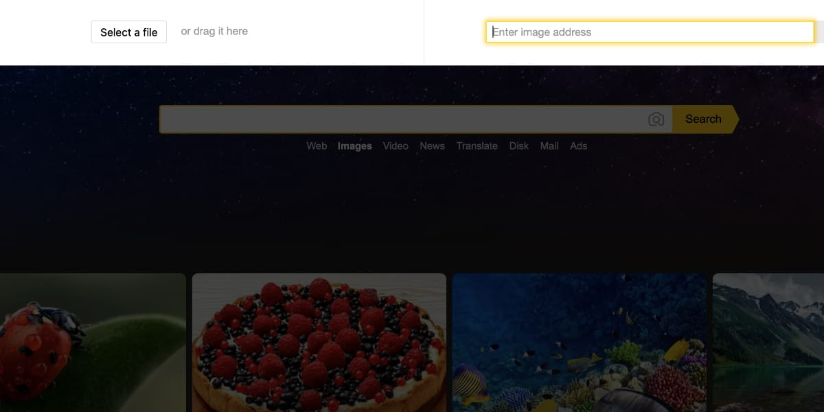 Búsqueda inversa de imágenes en Yandex