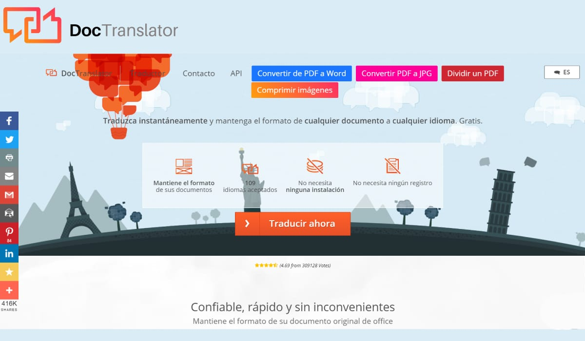 Traducir PDF con DocTranslator