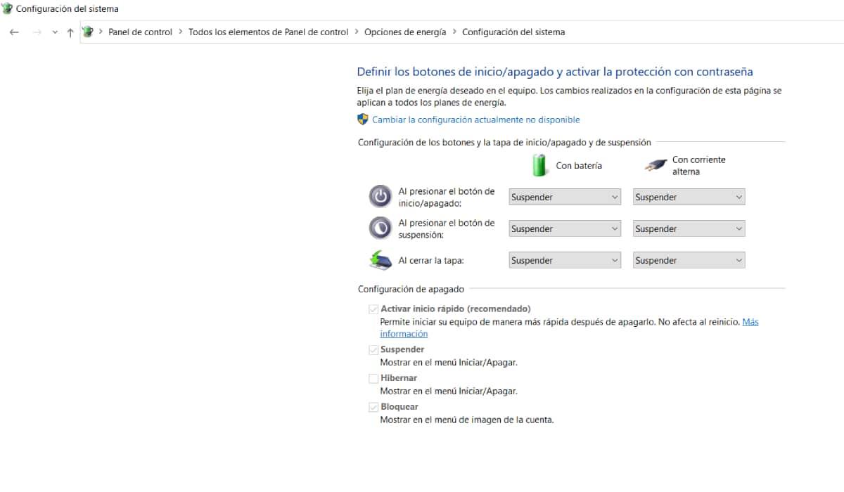 Activar inicio rápido en Windows 10