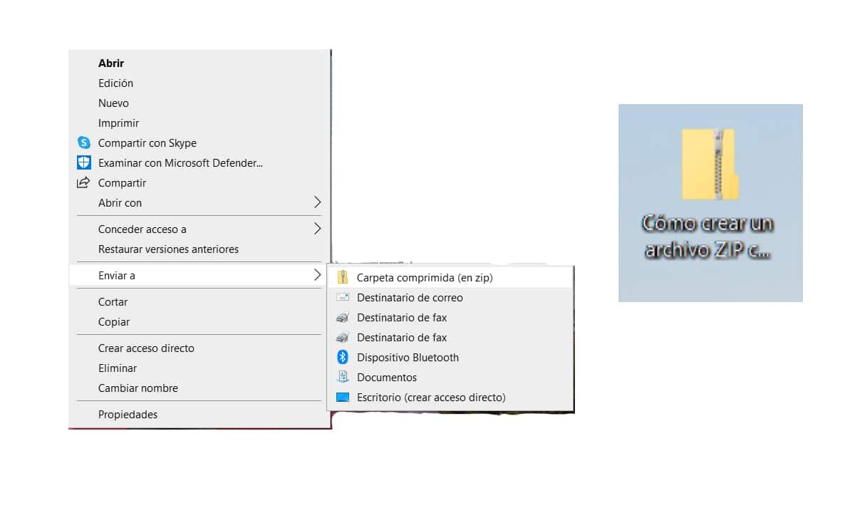 Crear un archivo ZIP con Windows