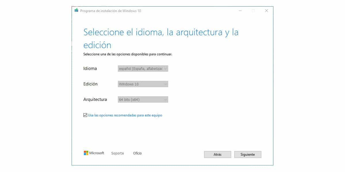 Idioma, edicion y arquitectura para actualizar e instalar windows 10