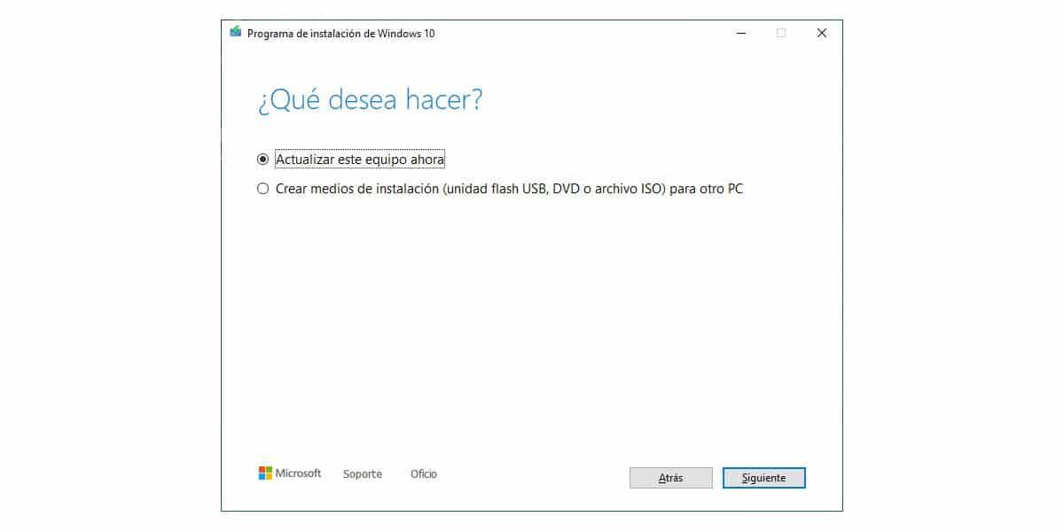 Medios de instalación Windows 10 mediante actualizar este equipo ahora