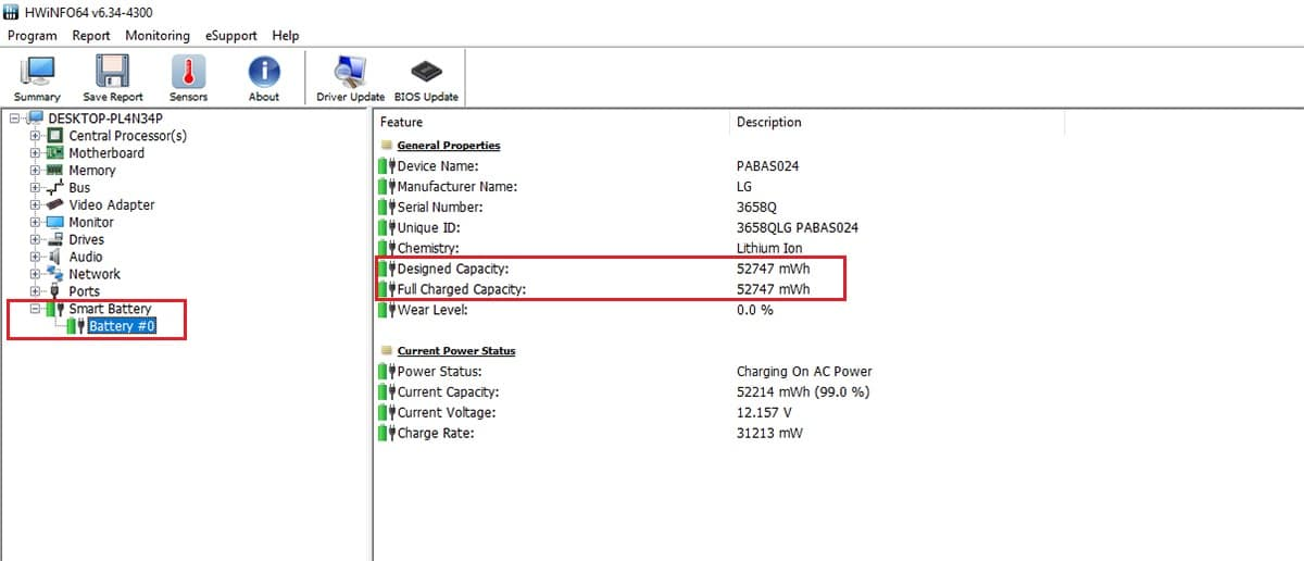 Capacidad batería Windows 10