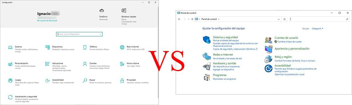 Panel de control vs configuración Windows