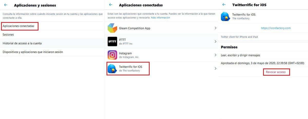 Revocar acceso aplicaciones a Twitter