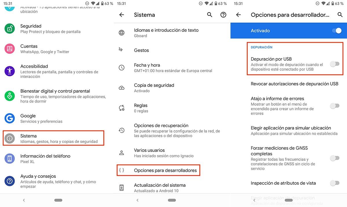 Activar depuración USB en Android
