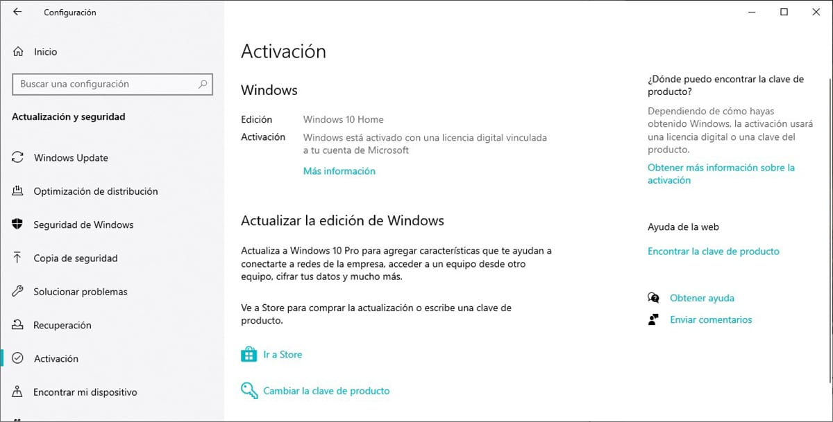 Licencia digital Windows 10