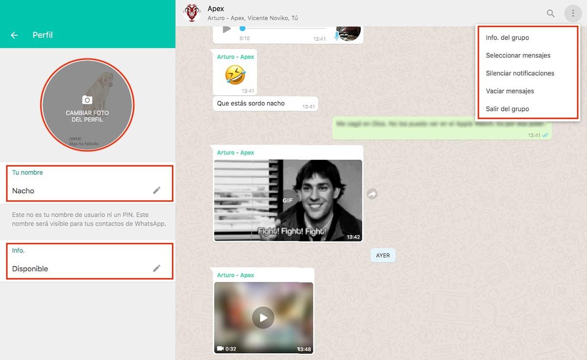 Cambiar foto perfil WhatsApp Web