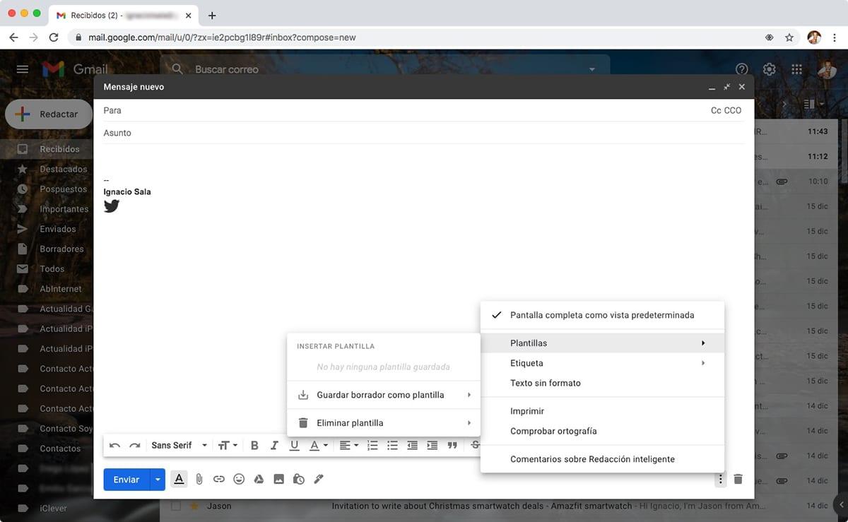 Plantillas en Gmail