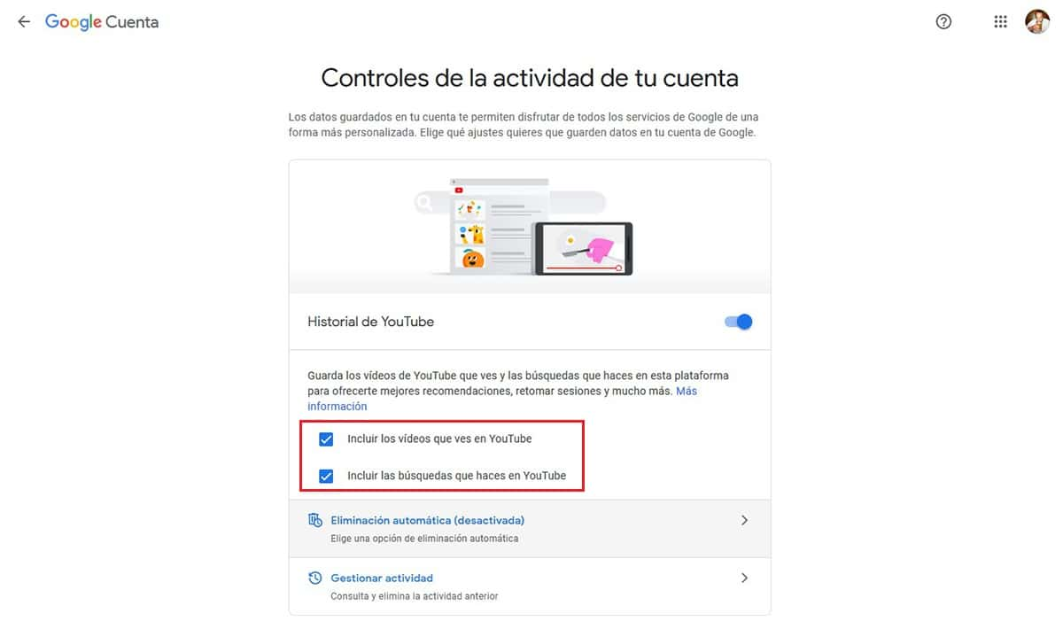 Desactivar rastreo YouTube.