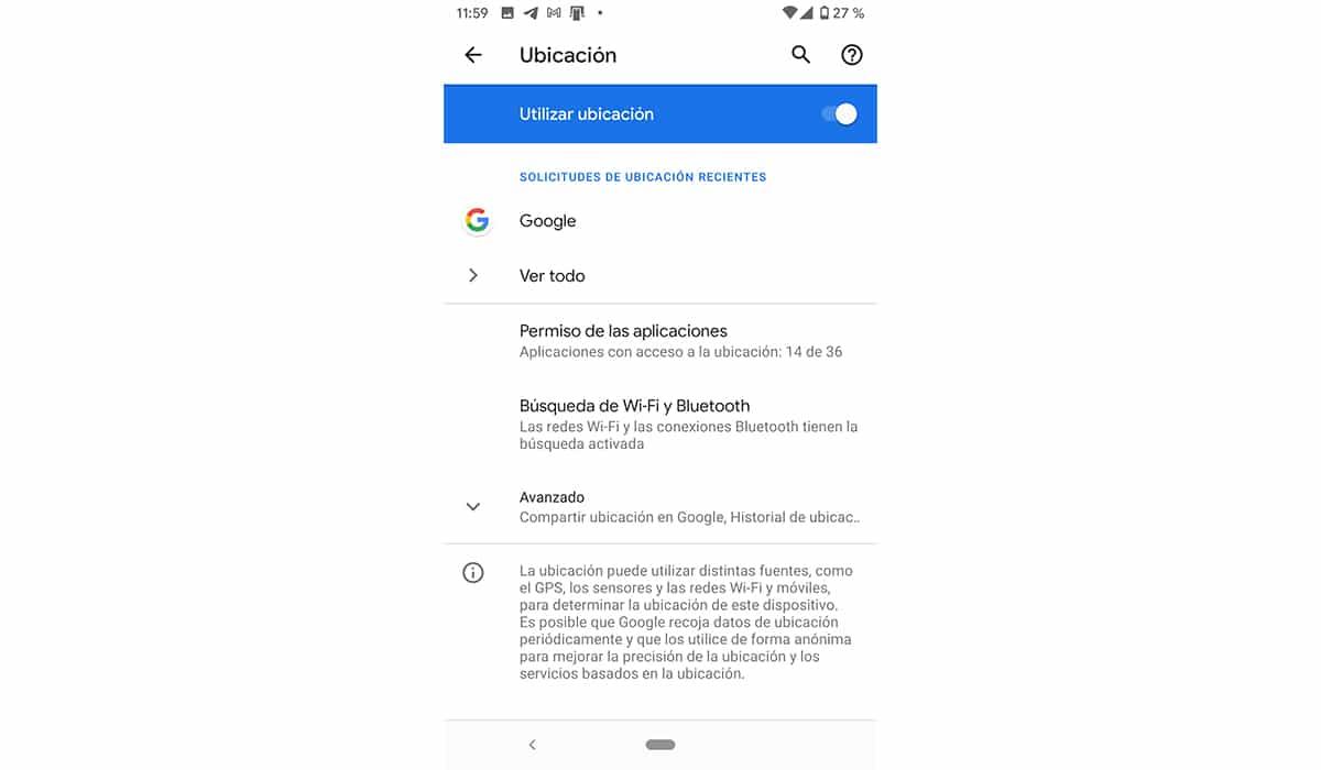 Desactivar la ubicación en Android