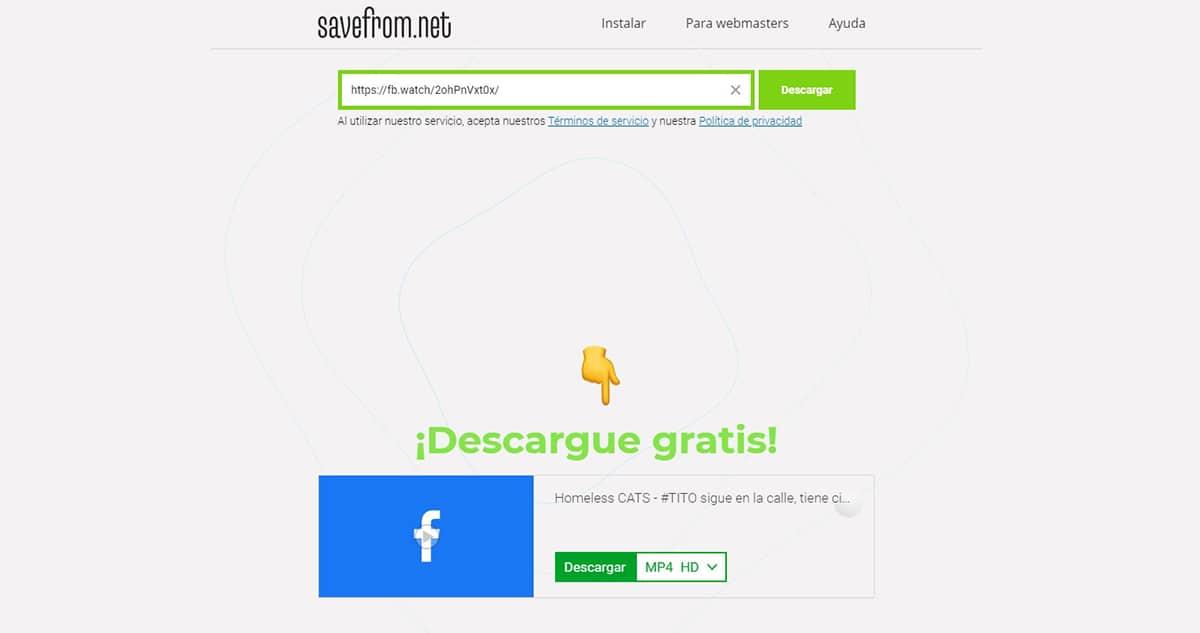 SaveFrom - descargar videos de Facebook