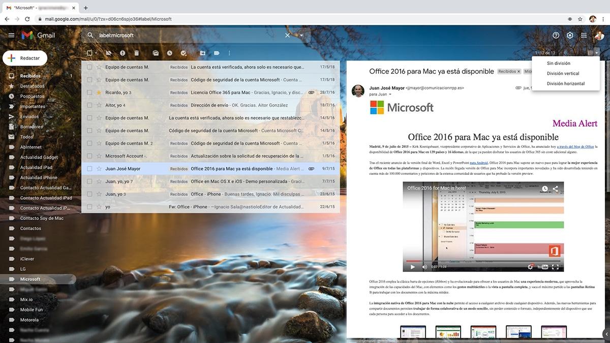 Visualizar mensajes Gmail