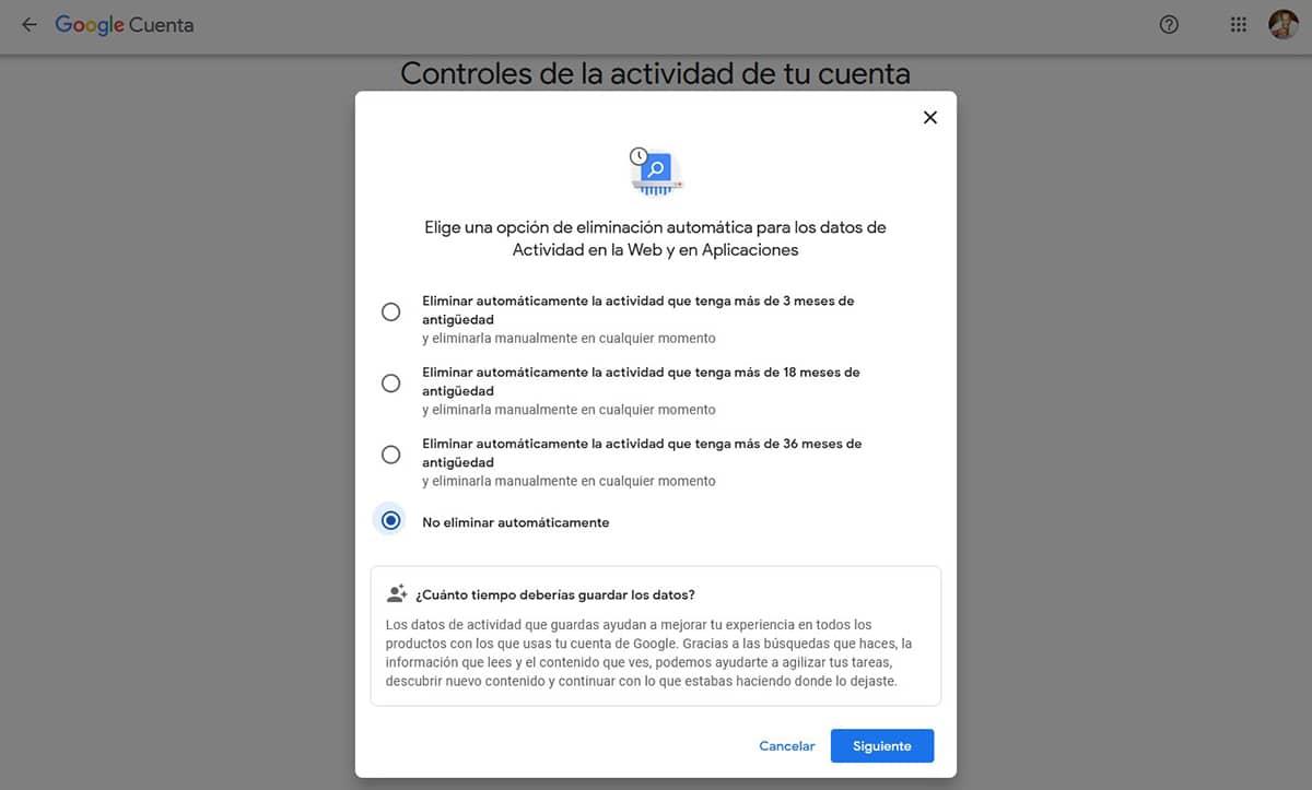 Eliminar actividad web Google