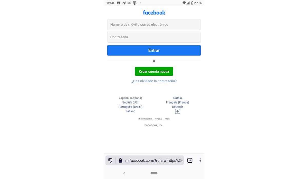 facebook desde navegador