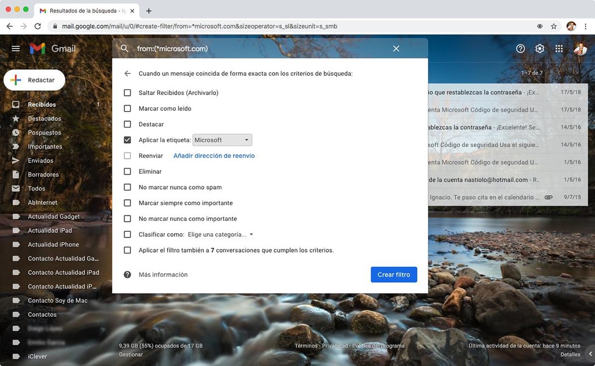 filtrar correos Gmail