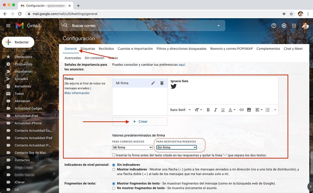 Firmar correos en Gmail