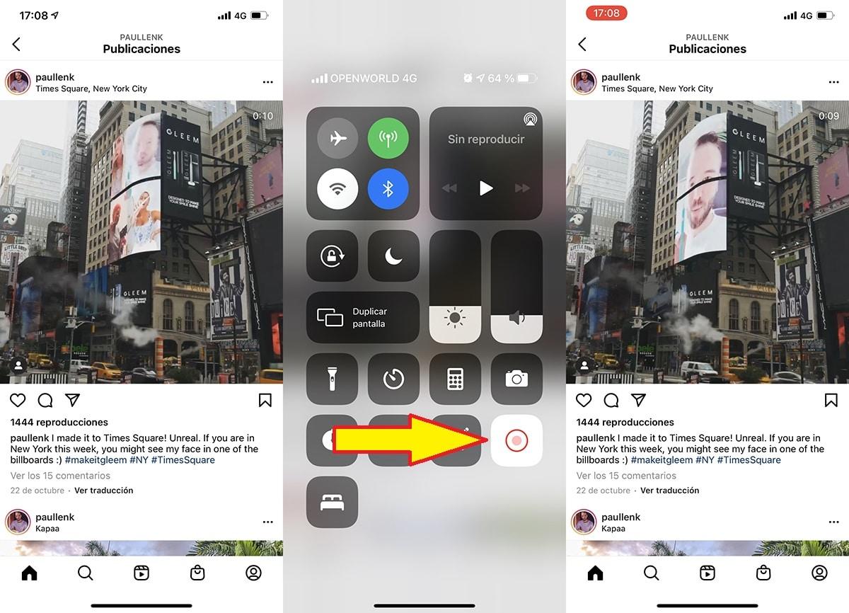 Grabando la pantalla del iPhone