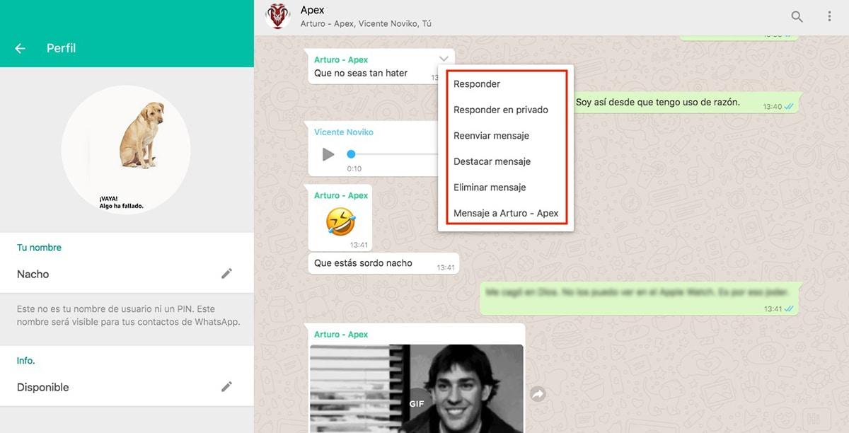 Responder mensajes WhatsApp Web