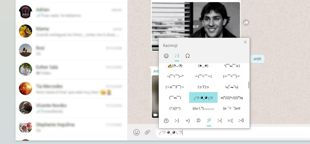 Kaomoji en WhatsApp Web