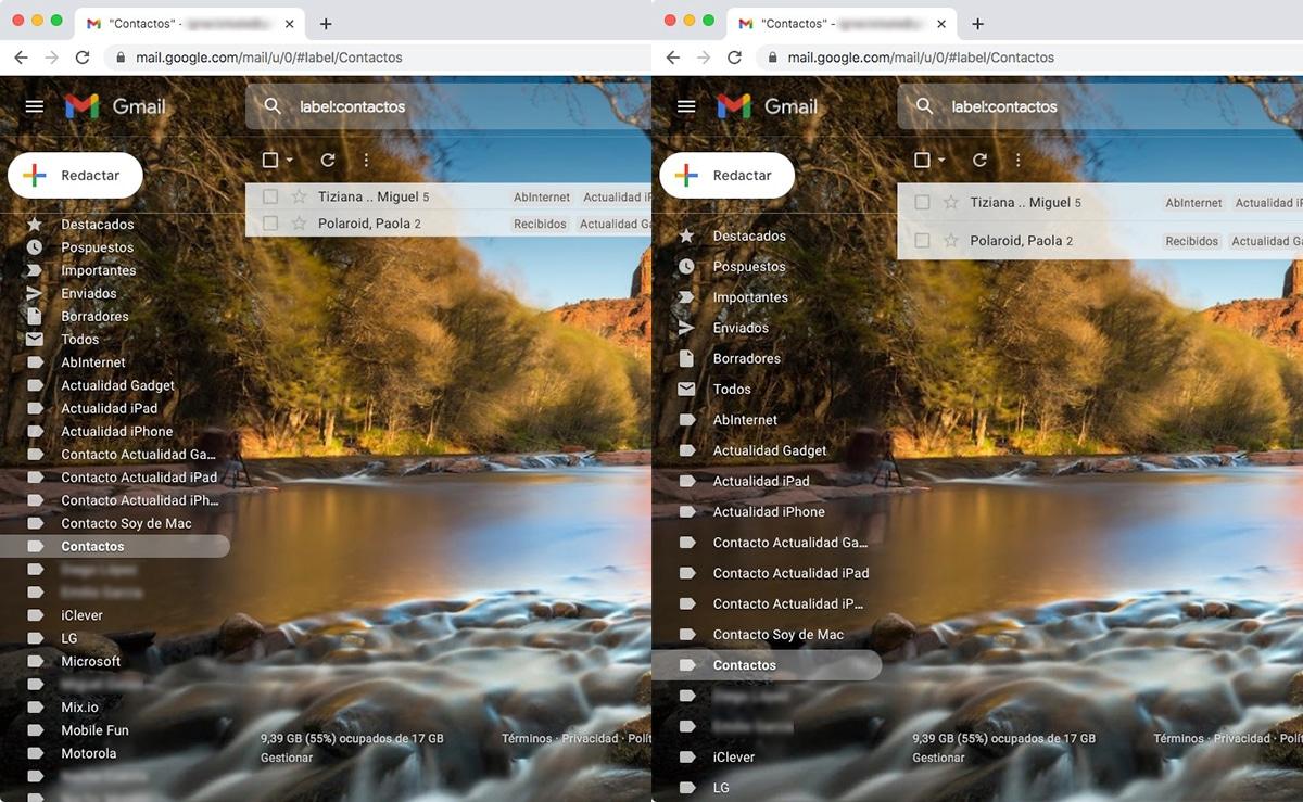 Vista compacta Gmail
