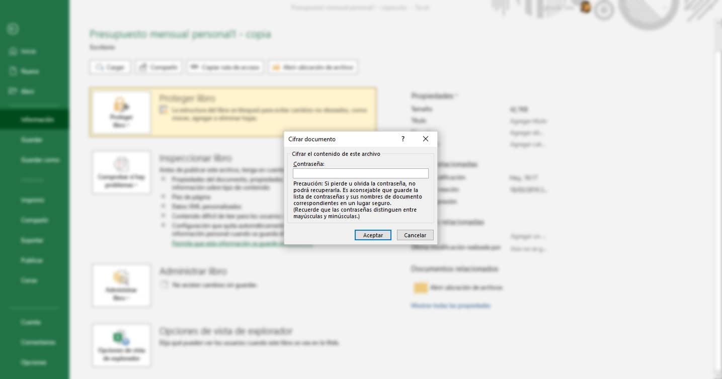 cifrar documentos Excel
