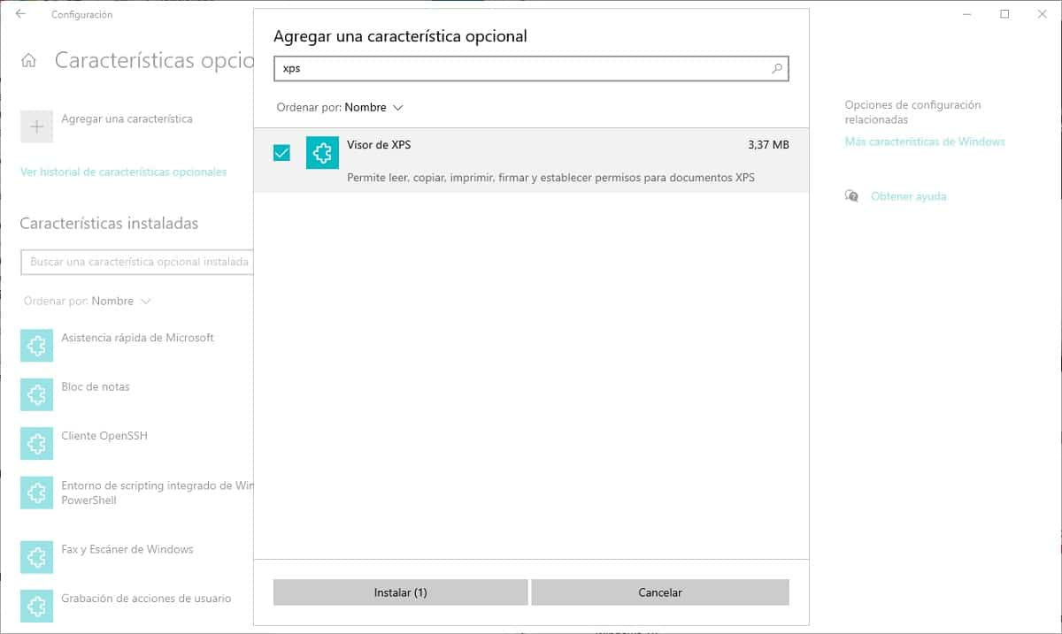 Visor XPS de Windows 10