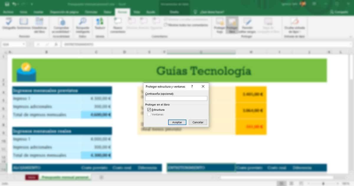 Añadir contraseña hoja Excel