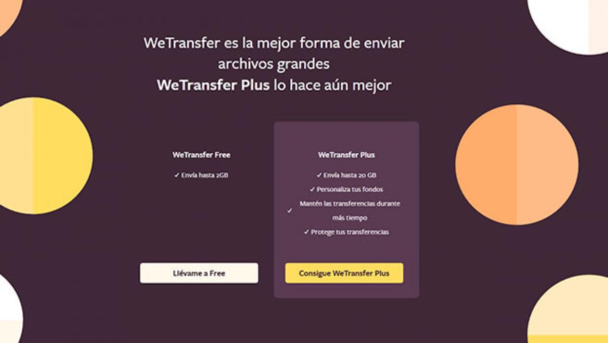 enviar archivos pesados con WeTransfer