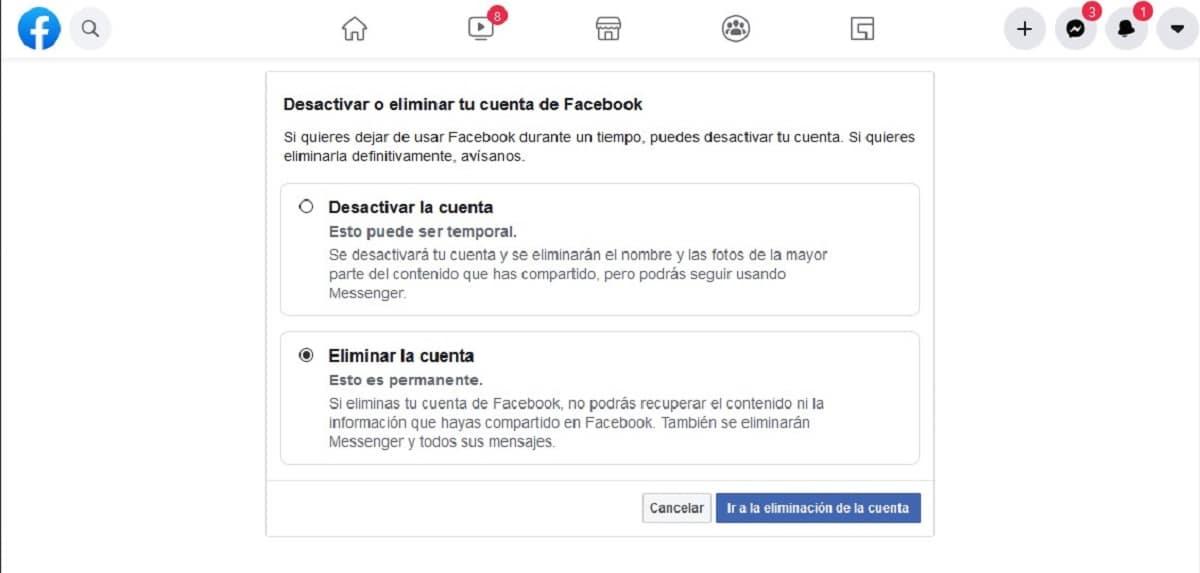 Eliminar o desactivar cuenta de Facebook