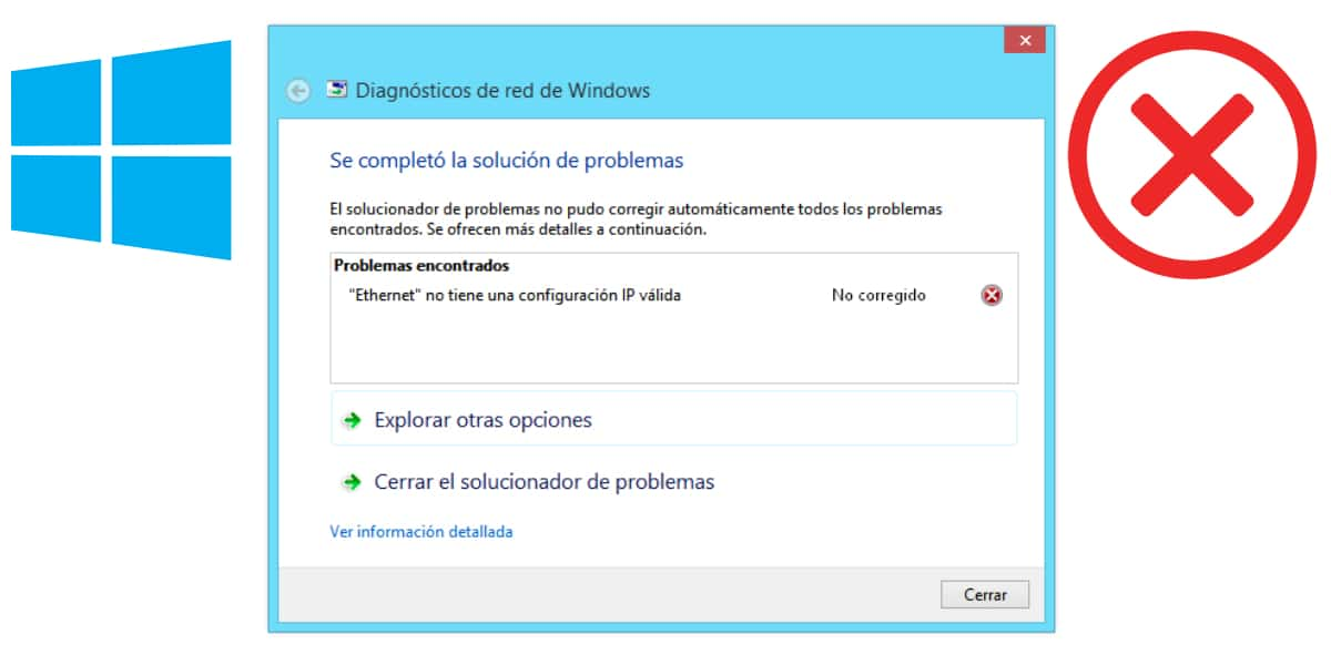 Ethernet no tiene una configuración IP válida