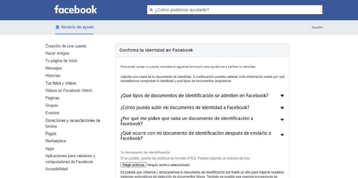 Confirmar identidad Facebook