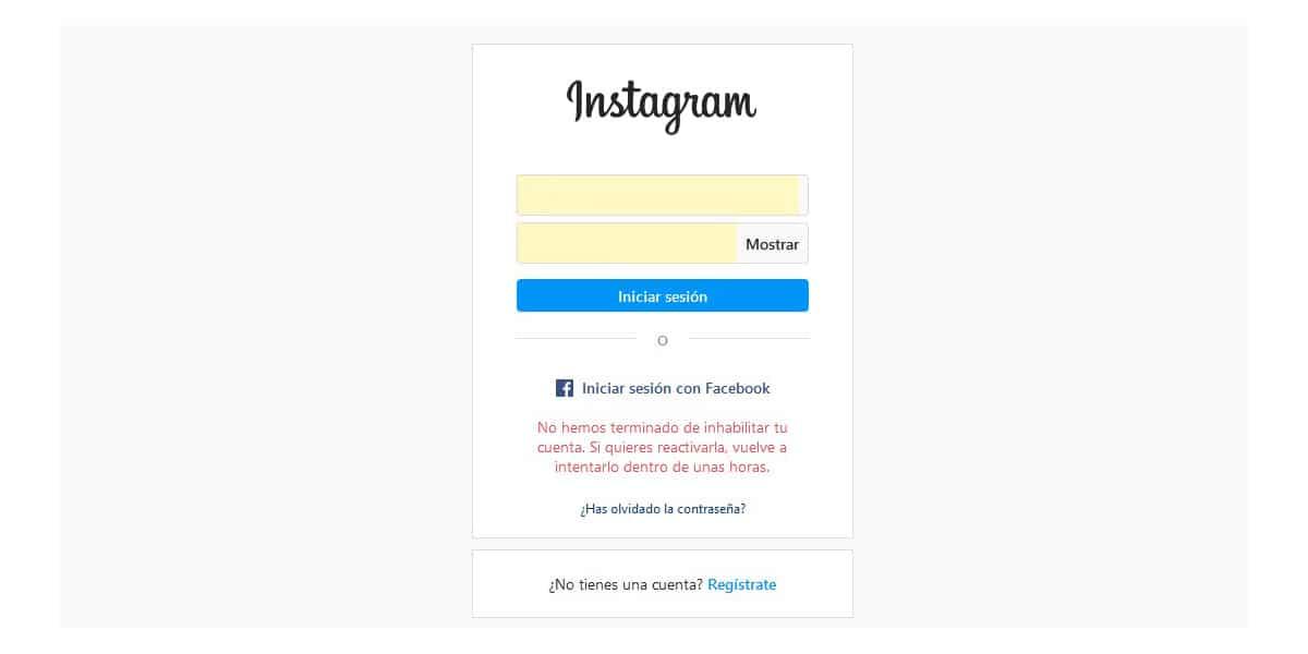 Deshabilitar cuenta de Instagram