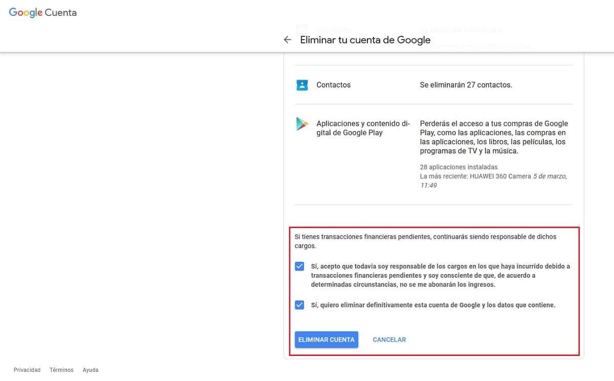 Eliminar cuenta Google