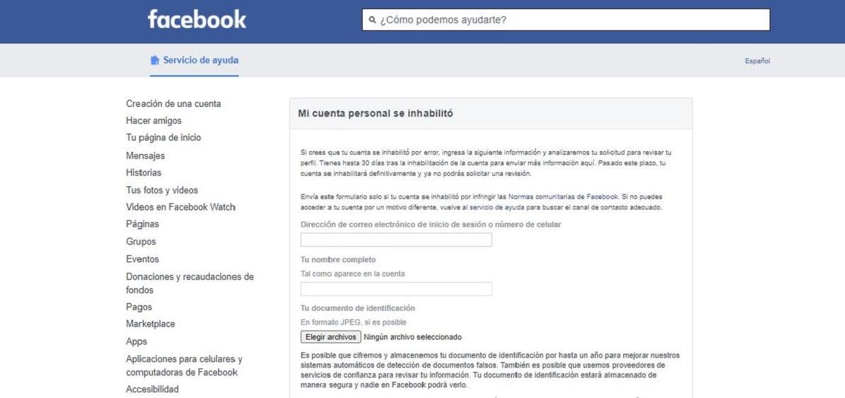 Facebook cuenta inhabilitada