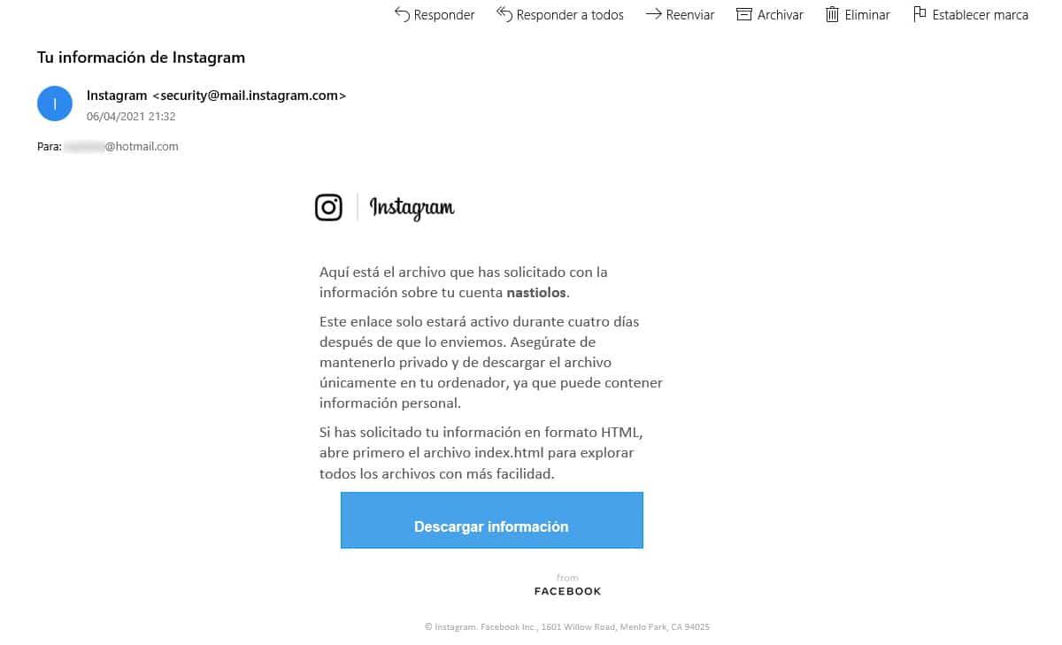 link descarga contenido Instagram