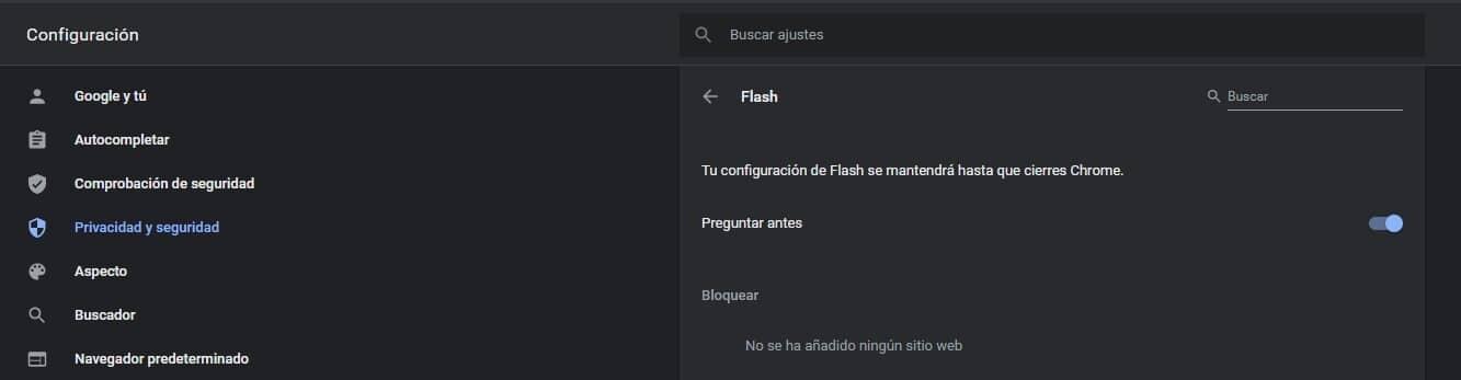Menú Chrome