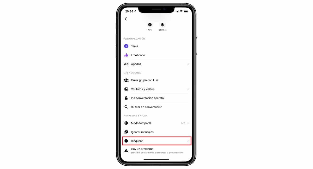 Contacto bloqueado en Messenger