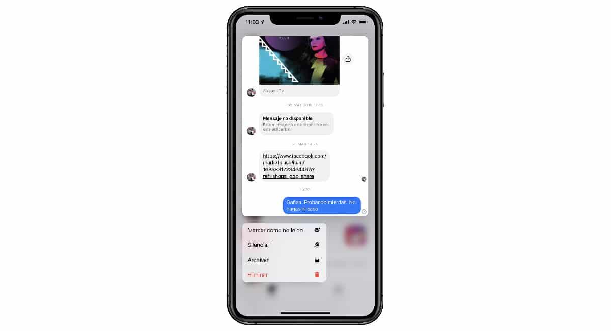 Borrar conversación Messenger