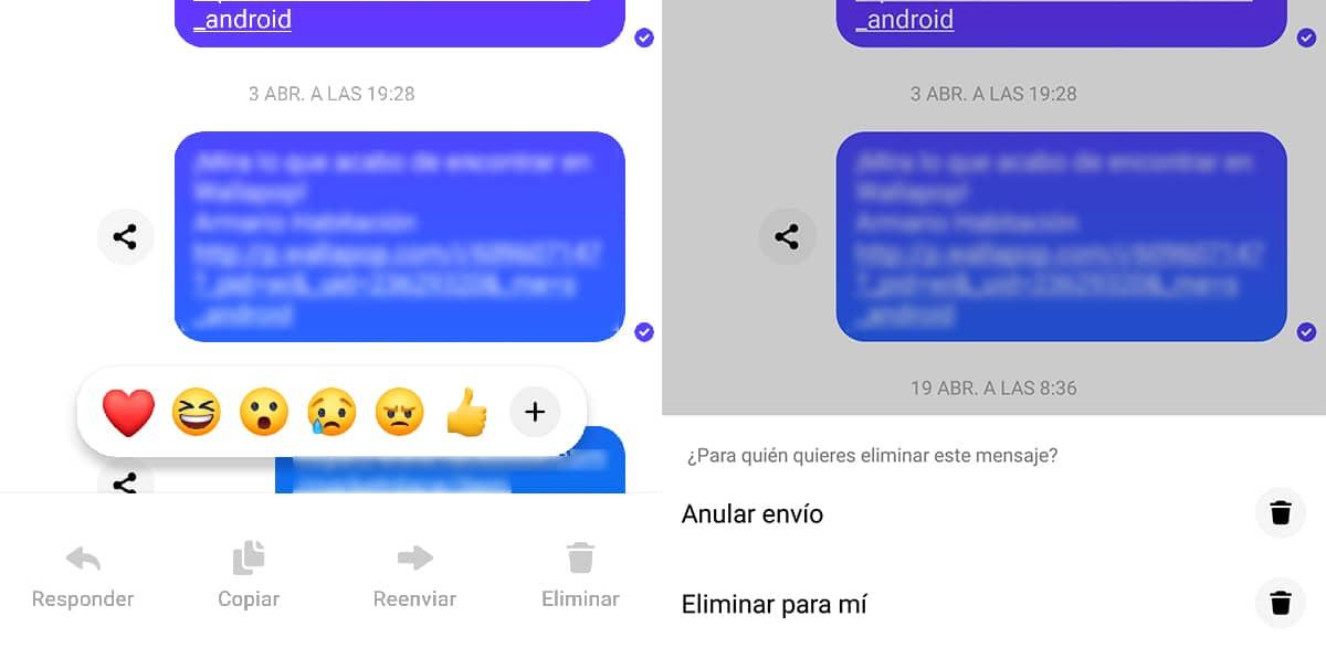 Eliminar mensajes Messenger Android