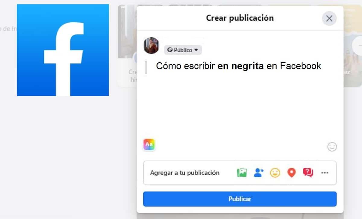 facebook escribir en negrita