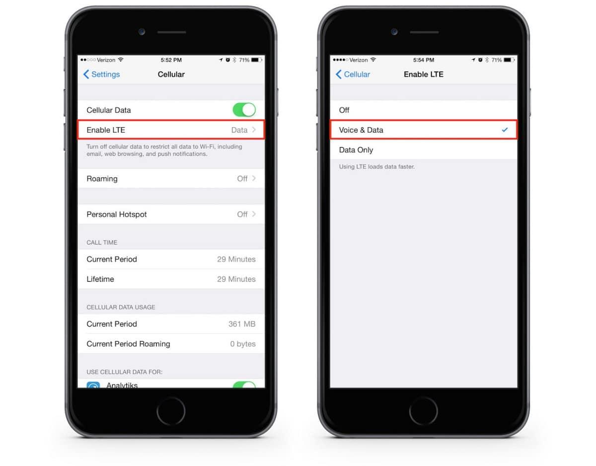deshabilitar VoLTE en iOS