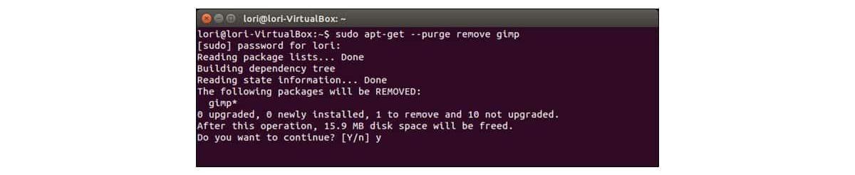 eliminar aplicaciones ubuntu línea de comandos