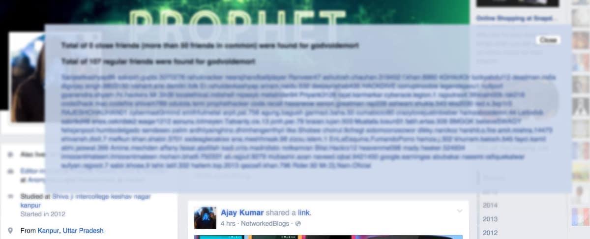 listado amigos ocultos en Facebook